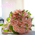 New Style Handmade Flowers Decorative Artificial Rose Flowers Pearls Pink Bride Bridal Wedding Bouquets with  Ribbon BQ04