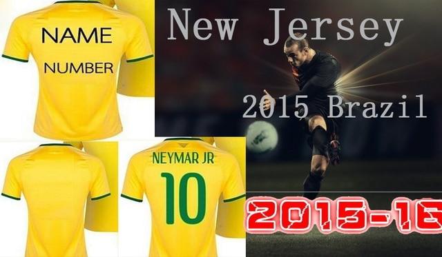 release date 05dde 07515 US $20.0 |Brazil Shirt Home Brazil Jersey Yellow Blue NEYMAR JR OSCAR PELE  Soccer 2015 16 Football Shirt camisa brasil Jersey-in Soccer Jerseys from  ...
