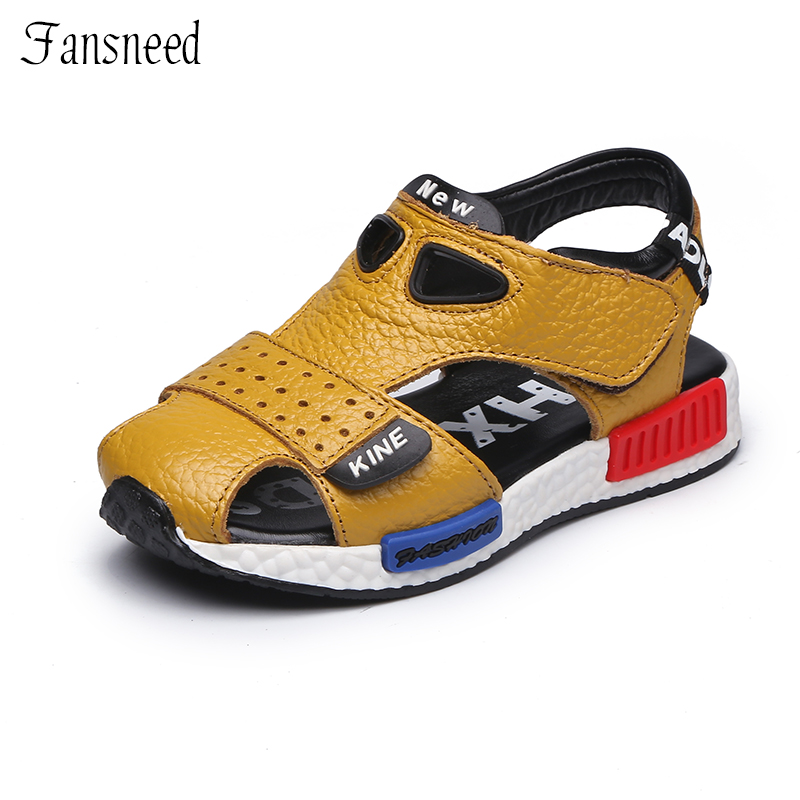2017 genuine leather children sandals cowhide sole summer beach sandals boys and girls toe covering children shoes