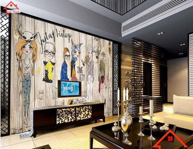 D kamer behang aangepaste muurschilderingen non woven muursticker