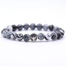 Браслет со знаком «Мир» классический натуральный камень 18 стилей браслеты из бисера для мужчин и женщин брелок лучшие друзья подарок Pulseira Прямая поставка