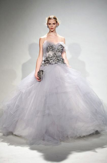 f53a92169b Sweetheart Floor length chapel train dress Ball Gown Hand Made Flower tulle  Marchesa Grey Prom Dresses