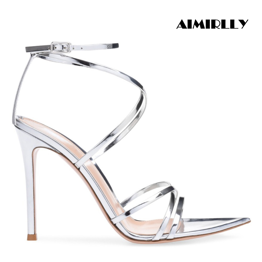 New Fashion Women Pointy Open Toe High Heel Sandals Ankle Strap Stiletto Summer Dress Evening Party