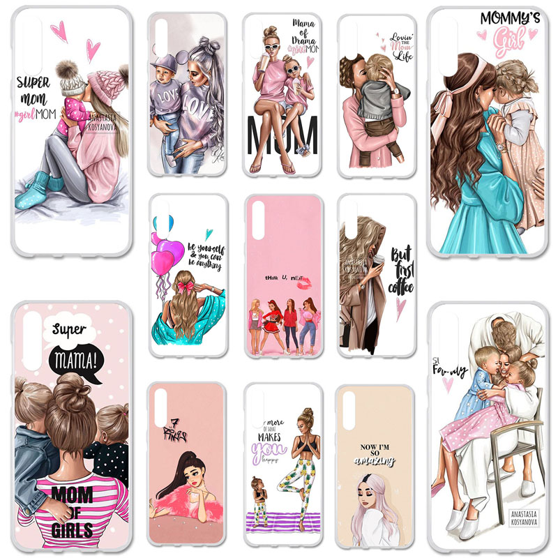 Uppbo Phone Cases For <font><b>Samsung</b></font> Galaxy <font><b>A50</b></font> A 50 <font><b>2019</b></font> A505F A505 6.4 inch <font><b>Cover</b></font> Black Brown Hair Baby Mom Girl Queen Soft TPU Case image