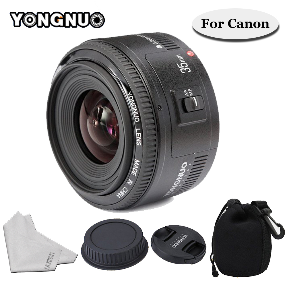 YONGNUO 35mm F/2 Lens YN35mm Wide-angle Large Aperture Fixed Auto Focus Lens For Canon 6d 60d 5d mark iii 550d 1100d 650 Camera original yongnuo 35mm f2 lens yn35mm large aperture auto focus lens for canon eos 5d mark iii 450d 60d 7dii 6d dslr camera 35mm