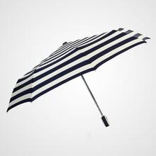 Folding umbrella Flower umbrella UV protection Sun protection Three-folding Umbrella Classic blue stripes juqi folding three section two person lover umbrella blue