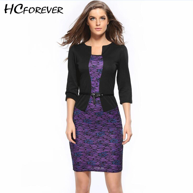 2018 Summer Office Pencil Dress Ladies Plus Size Xxxl Dress Lace Embroidery  Blazer Dress Women Purple Floral Belt Elegant Belt 1cd7316f2201