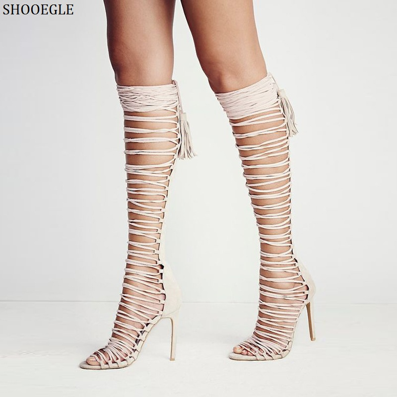 SHOOEGLE Rome Style Strappy Lace-Up Thigh High Sandals Sexy Cut-Outs Long Gladiator Sandals Open Toe High Heels Shoes Woman women sandals brand designer gladiator high heels sexy open toe cut outs women shoes lace up shoes woman pumps sandalias mujer