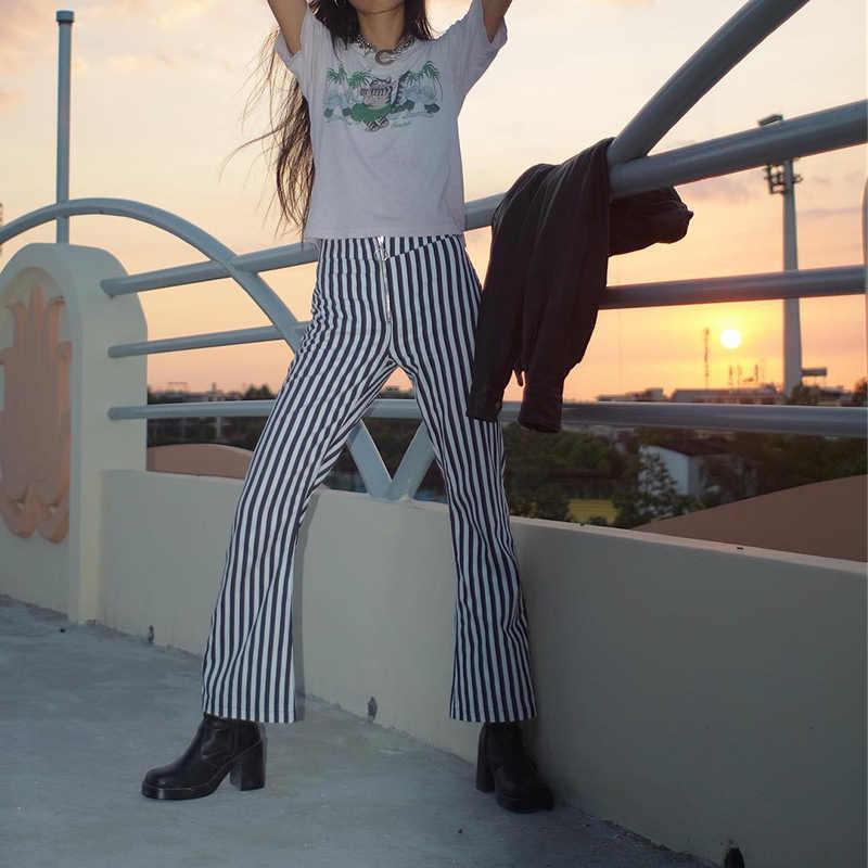 WannaThis สีดำสีขาวลายยาว Flare กางเกงผู้หญิงสูงเอวซิปโลหะแหวนกางเกงเซ็กซี่ Casual Slim กางเกงฤดูร้อน