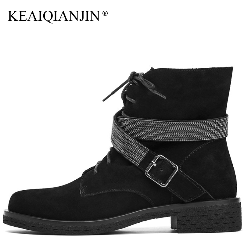 KEAIQIANJIN Women's Genuine Leather Martin Boots Autumn Winter Plush Zipper Ankle Boots Black Genuine Leather Woman Punk Shoes women martin boots 2017 autumn winter punk style shoes female genuine leather rivet retro black buckle motorcycle ankle booties