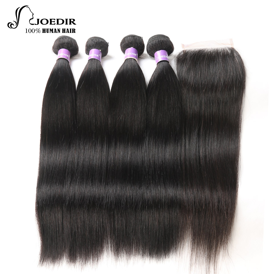 Joedir Straight Natural Colored Brazilian Non-Remy Human Hair 4Pcs Bundles Deal 10-26Inch With 4*4 Full Lace Frontal Closure