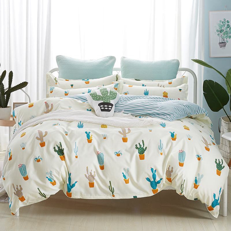 Nordic Cactus Duvet Cover Set Solid Color Stripe Bed Sheet Pillow Case 100% Polyester Soft Duvet Cover Home Cactus Bedding Sets