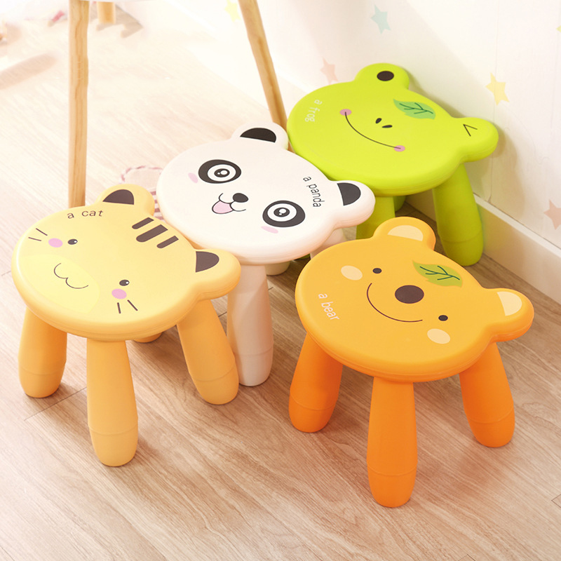 Cartoon Plastic Stool Children's Home Small Bench Thickening Kindergarten Baby Stool Assembly Adult Shoes Bench Cat Frog Panda