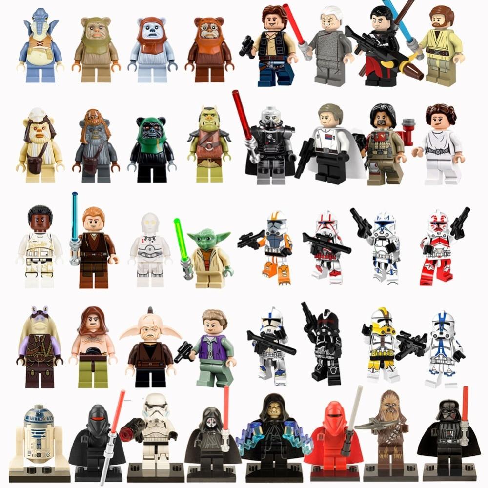 Single Sale Legoed StarWars Building Blocks Han Solo Anakin Darth Vader Yoda Jar Jar Legoing Starwars Figures Bricks Playmobils