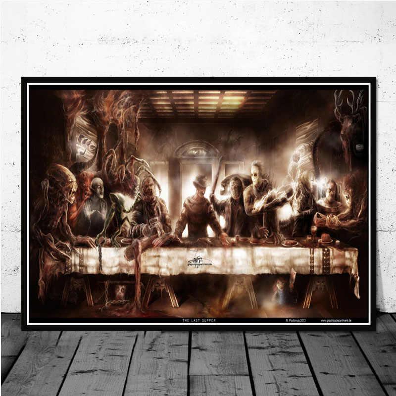 Hot Freddy Jason Chucky Halloween Horror Film Karakter Terakhir MAKAN MALAM Seni Lukisan Poster Cetakan Gambar Dinding Kamar Dekorasi Rumah