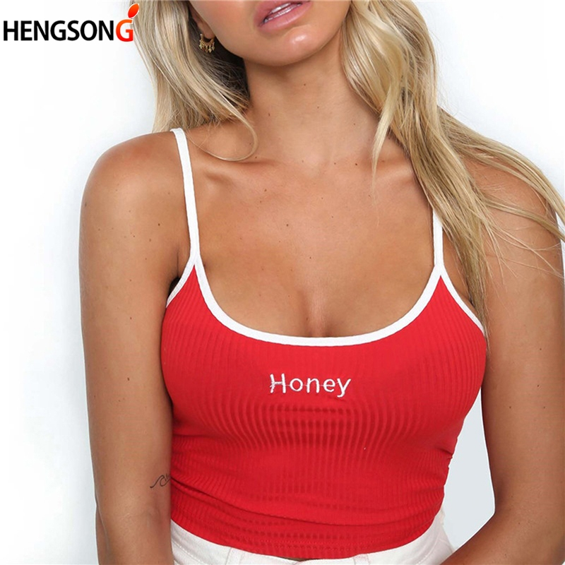 Women Honey Letter Strap Tank Tops 2019 Female Slip Crop Tops Sexy Camis Club Camisoles White Red Ladies Short Tight Shirt