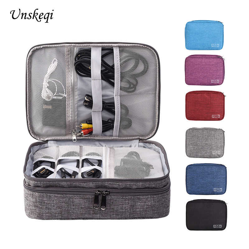 New Three-Layer Digital Storage Bag USB Data Cable Earphone Wire pen Power bank HDD Organizer Portable Travel Kit Case Pouch