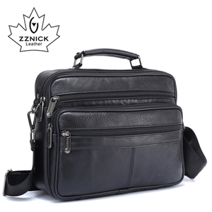 Image 2 - ZZNICK メンズメッセンジャーバッグ高級本革男性バッグデザイナー高品質ショルダーバッグカジュアルジッパー事務所バッグ男性