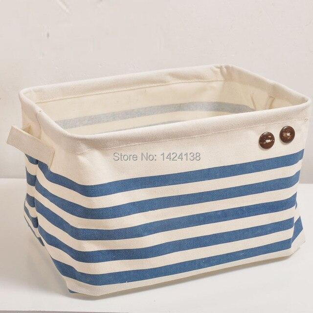 Merveilleux Hot Sale Blue Stripe Canvas Fabric Storage Basket With Handles