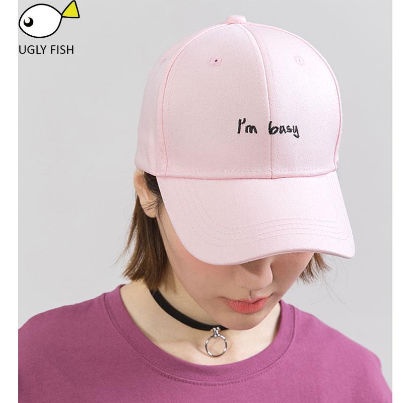 Ugly Fish Cap Women Baseball Cap Men Black Cap Pink Baseball Caps With Letter I Am -7185