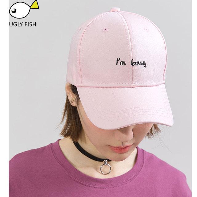 UGLY FISH cap women baseball cap men black cap pink baseball caps with  letter I am 2b6fe0ed697