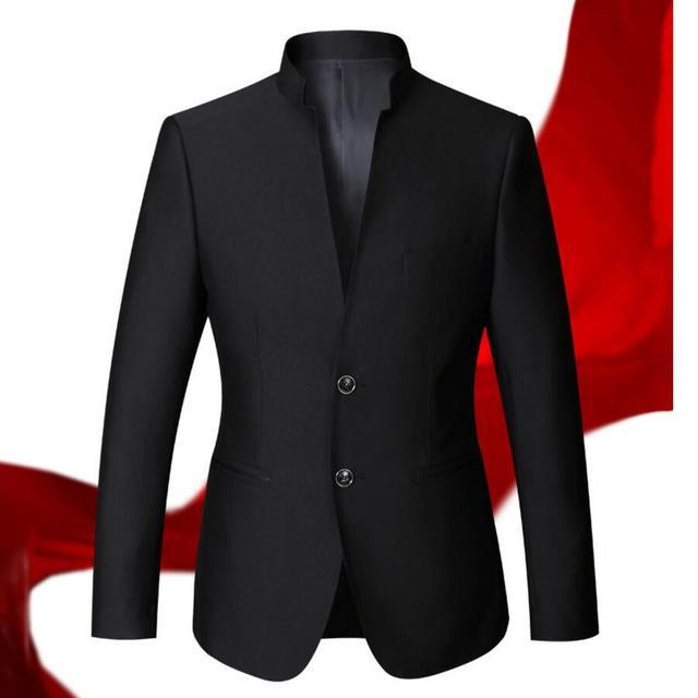 Hombres de la chaqueta de ocio de negocios elegante estilo hombres de la chaqueta clásica de moda de alta calidad de encargo cuello Mao chaqueta de los hombres de manga larga