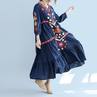 Plus Size Loose Bohemia Embroidery Dresses 2018 New Vintage Women three quarter Sleeve Floral Embroidered Cotton linen Dress