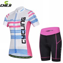 CHEJI Women Pro Team Breathable Cycling Jersey Summer Sports Padded Shorts Outdoor Clothing Wear