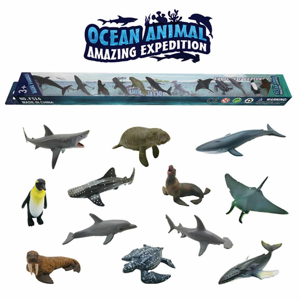 12pçs 6-9cm simulado marinho mundo do mar, playset, tubarão, baleias, crianças, presente educacional, pinguim, animais, brinquedos tartaruga do leão do mar