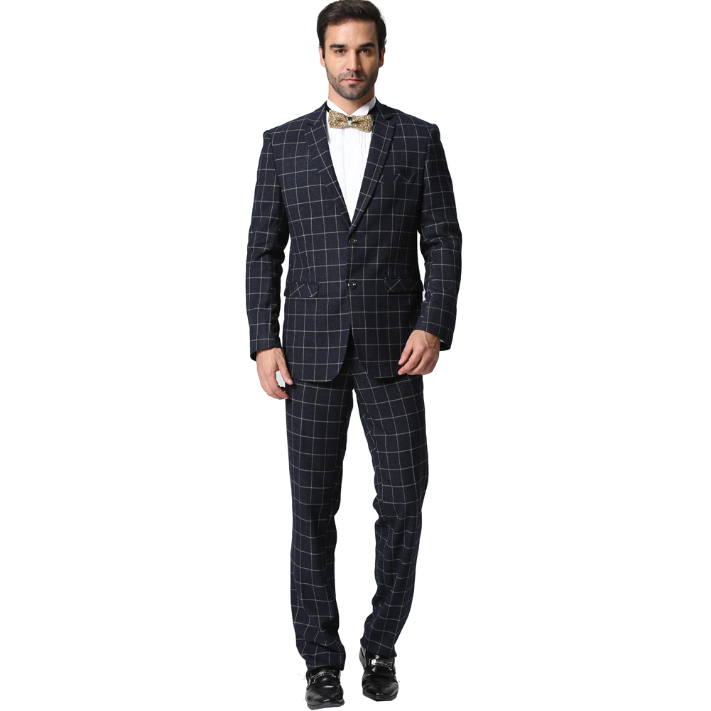 (Jacket+Pants) Men Plaid Suits 2016 Fashion Brand Designer Business Casual Slim  Fit Homme 2 Piece Suit-in Suits from Men's Clothing & Accessories on ...