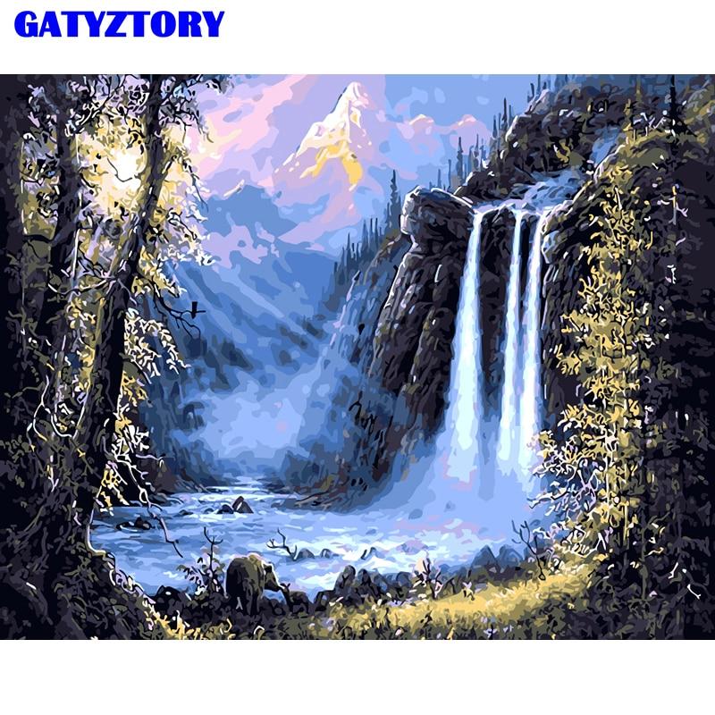 Frameloze waterval landschap diy schilderij by numbers kits acrylverf moderne kunst foto met de hand geschilderd op doek kunstwerk