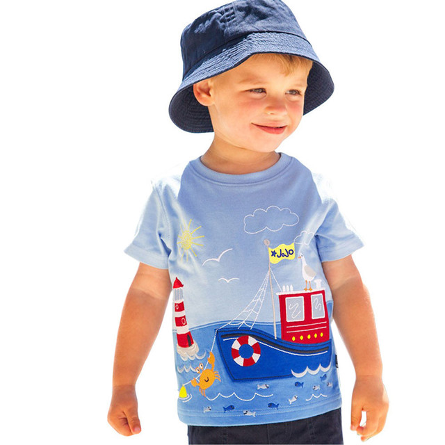 TELOTUNY baby boy summer short T-shirt soft cotton T-shirts for boys baby clothes kids t-shirt 18M-6T Cartoon Striped Z0829