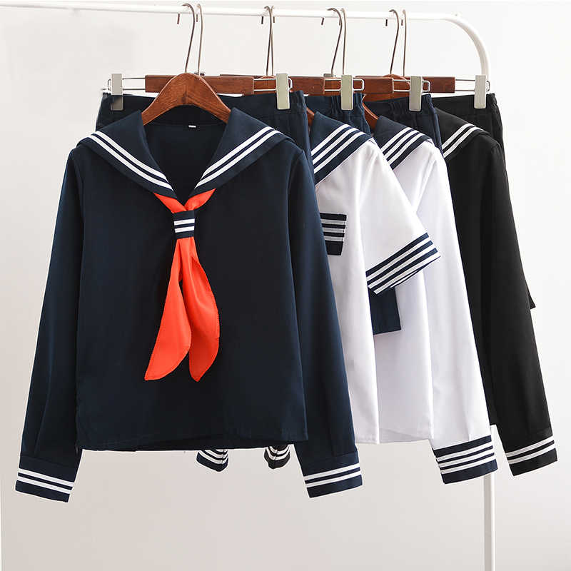 Uphyd Hot Koop Anime School Uniform Cosplay Japanse Schoolmeisje Navy Sailor School Uniform Met Rode Sjaal Jk Uniformen LYX0701