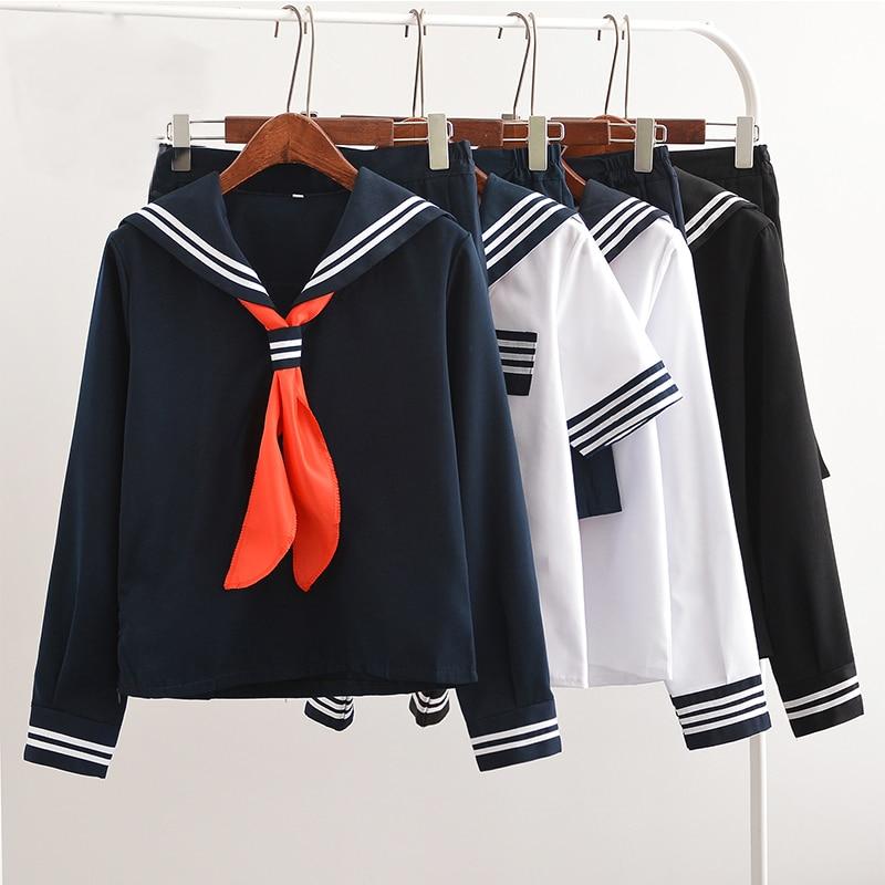 UPHYD Hot Sale Anime School Uniform Cosplay Japanese Schoolgirl Navy Sailor School Uniform With Red Scarf JK Uniforms LYX0701