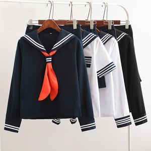 UPHYD Hot Sale Anime School Uniform Cosplay Japanese Schoolgirl Navy Sailor School Uniform With Red Scarf JK Uniforms LYX0701(China)