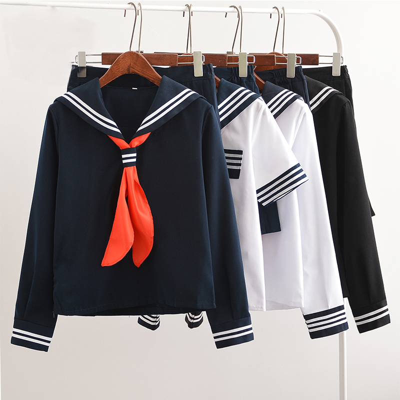 UPHYD Hot Sale Anime School Uniform Cosplay Japanese Schoolgirl Navy Sailor School Uniform With Red Scarf JK Uniforms LYX0701 image