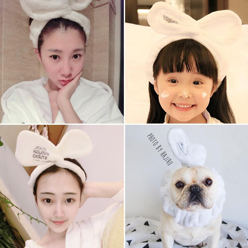 New Style Hair Band Facial Cleansing Bath Spa Makeup Wrap Bunny Ears Soft Elastic Headband Lady Headwear Women Hair Accessories