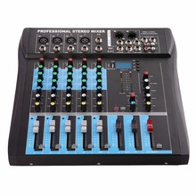 CT6 6 Channel Professional Stereo Mixer Live Audio Sound Console Vocal Effect Processor with 4-CH Mono & 2-CH Input