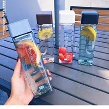 Милый квадратный чайный стакан для воды с молоком и фруктами 500 мл для бутылок с водой, прозрачный спортивный корейский стиль, термостойкий