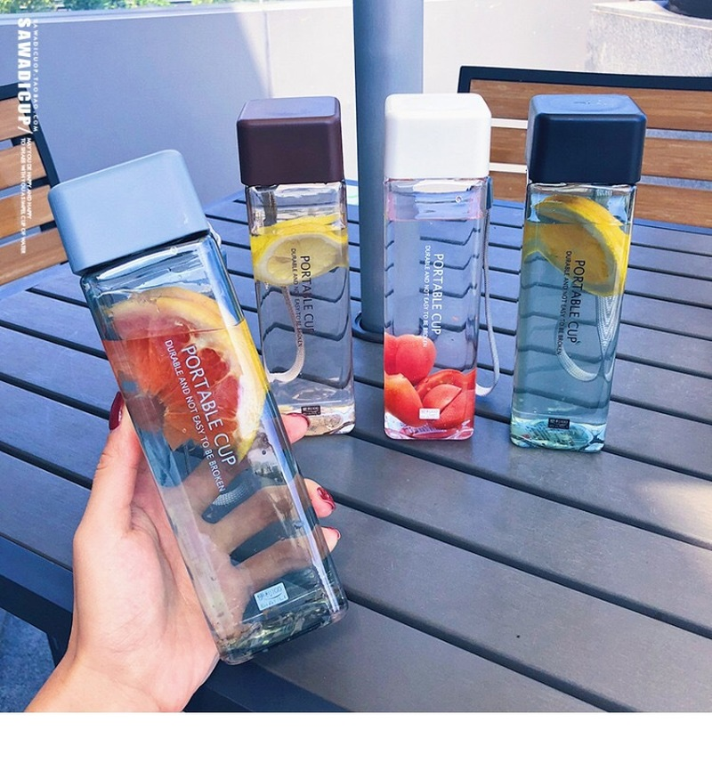 Baru Lucu Square Teh Susu Buah Cangkir Air 500 Ml Botol Air Minum dengan Tali Transparan Olahraga Gaya Korea tahan Panas