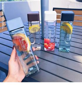 Water-Cup Square Drink Fruit Milk Transparent Korean-Style 500ml Sport Cute with New