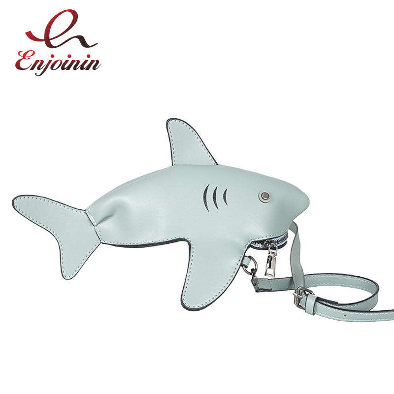 Fun Personality Cute Shark Design Pu Leather Casual Shoulder Bag Tote Crossbody Mini Messenger Bag Handbag Clutch Bag Purse Flap cute pencil shape and pu leather design crossbody bag for women
