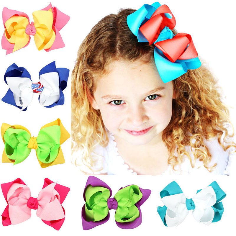 5 double layer hair bow girls