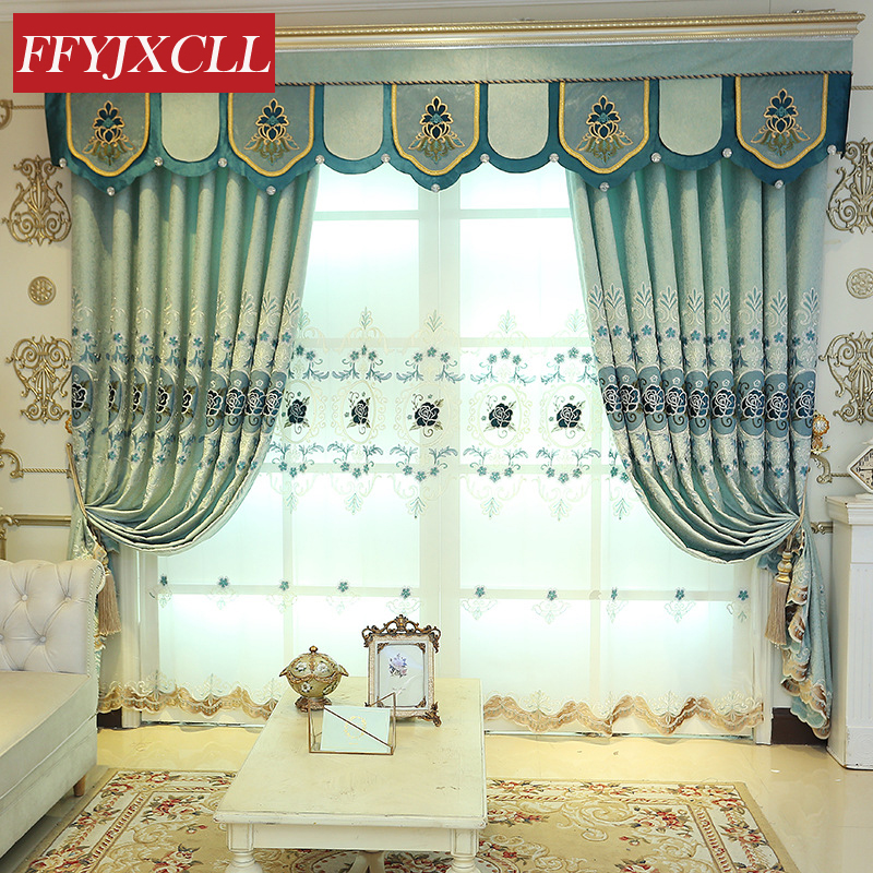 US $14.85 55% OFF|85% Blackout Curtains Retro European Embroidered Tulle  For living Room Bedroom Kitchen Curtains Valance Drapes Home Decor-in ...