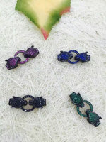 Top quality jewelry clasp & Hooks Micro Pave set cubic zirconia ,Leopard Head Beads gunemtal green rose sapphire blue connector