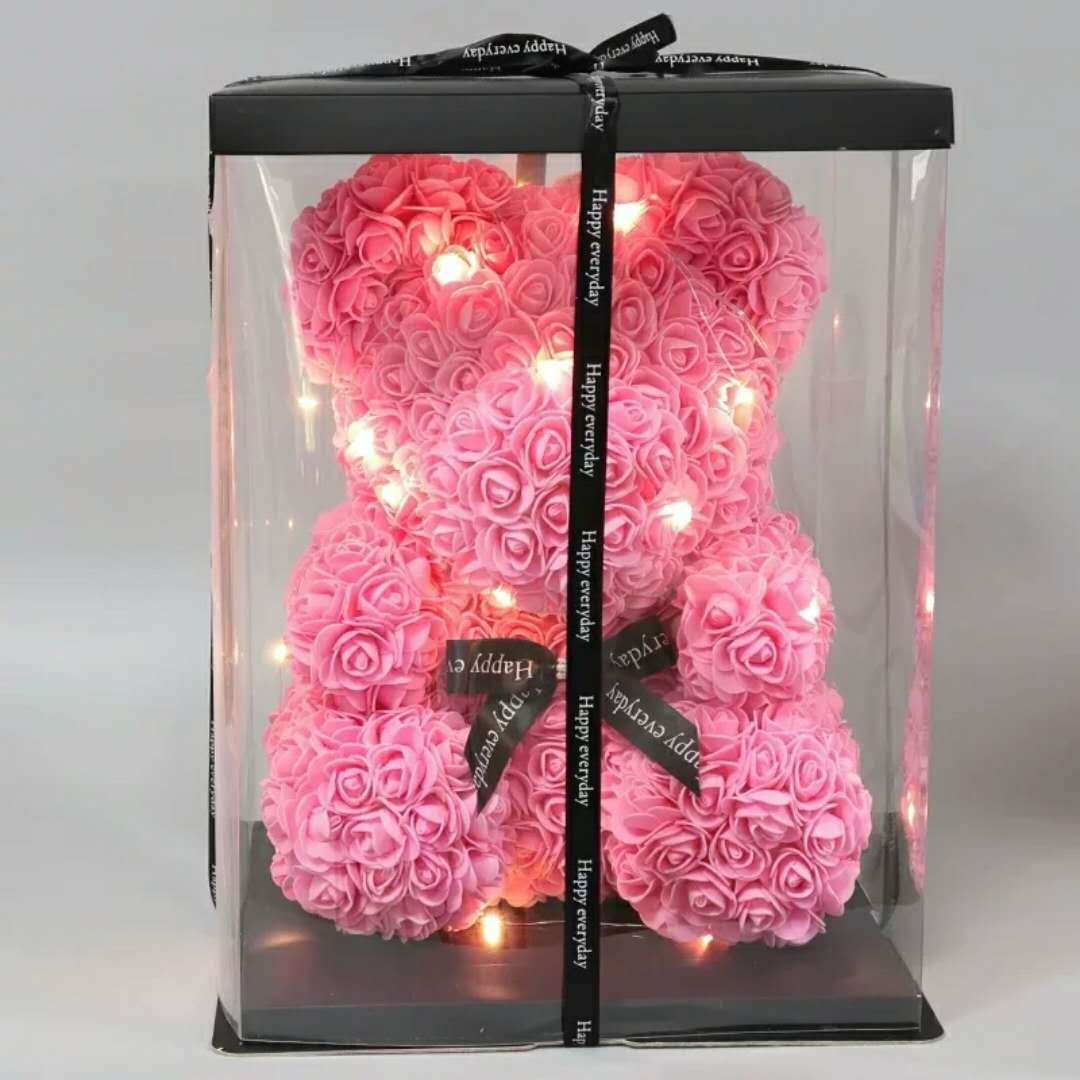 Cadeau saint valentin pour elle/lui 40 cm Rose ours lapin peluches présent pour petite amie anniversaire Bouquet meilleure idée cadeau