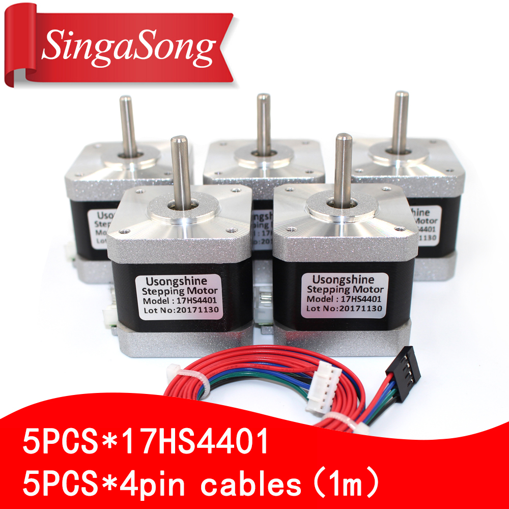 5pcs 4 lead Nema17 Stepper Motor 42 motor Nema 17 motor 42BYGH 38MM 1.7A (17HS4401) motor for CNC XYZ 3d printer motor