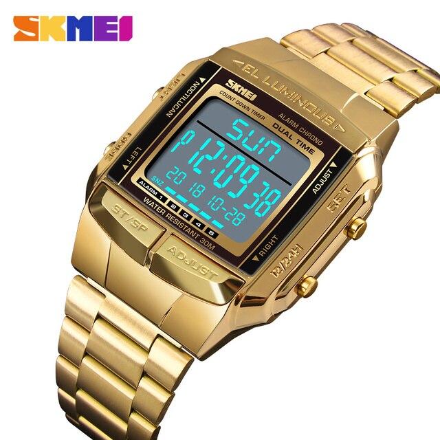 Skmei mens 시계 럭셔리 브랜드 패션 캐주얼 비즈니스 led 디지털 시계 방수 크로노 스포츠 시계 relogio masculino