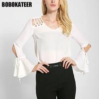 BOBOKATEER Fashion Chiffon Blouse Women Shirts White Ladies Long Sleeve Womens Tops And Blouses Camisa Blusas