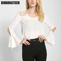 BOBOKATEER Fashion Chiffon Blouse Women Shirts White Ladies Long Sleeve Womens Tops And Blouses Camisa Blusas